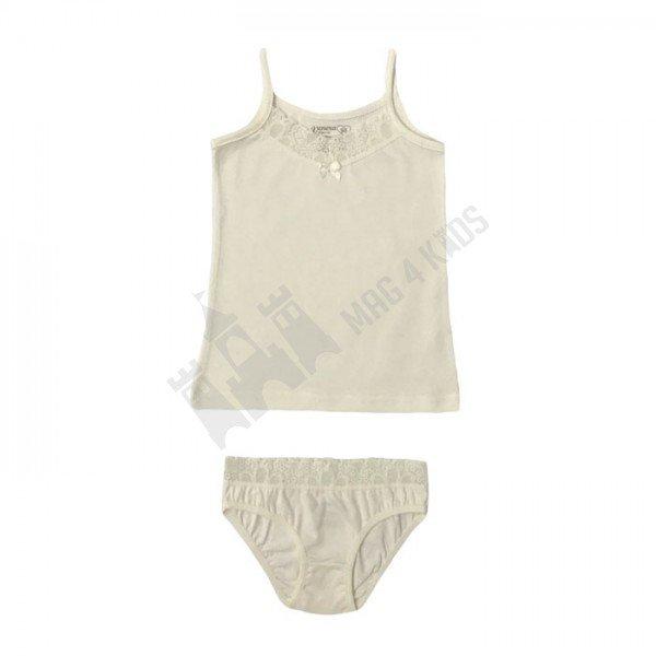 Комплект тънка презрамка и бикина с дантела 134-152