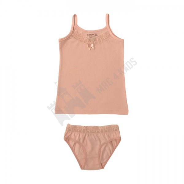 Комплект тънка презрамка и бикина с дантела 110-128